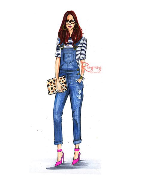 fashion illustration denim mode illustration skizze mode kunst rongrongillustration fashion designs