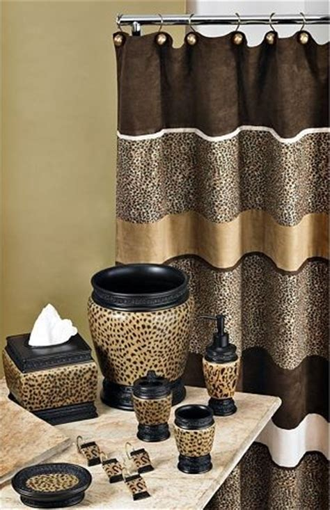 Cheetah Bathroom Set Curtain Etc Home Interiors Animal Print Bathroom Accessories