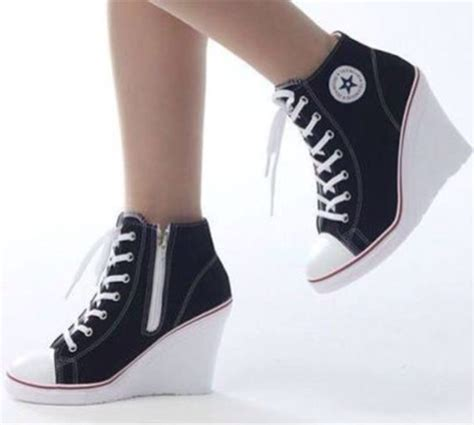 convers high heels shoes black heels converse wedge heels wedge sneakers