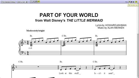 what is a section in music part of your world by jodi benson piano sheet music