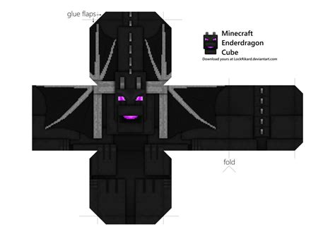 Minecraft Papercraft Enderdragon - enderdragon cube papercraft by lockrikard on deviantart