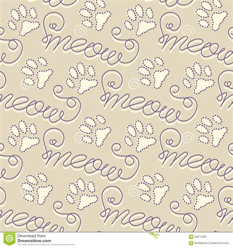 seamless pattern text seamless pattern with cat footprints stock vector image