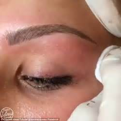black celebrity makeup lines microblading video shows tiny needles being used to create