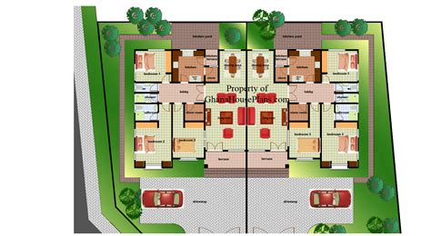 three bedroom semi detached house plan ghana house plans ohenewaa house plan
