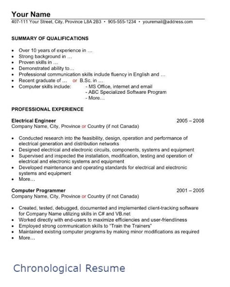 chronological resume format for experienced it professionals canadian resume template free builder format how to write a canadian resume martins library