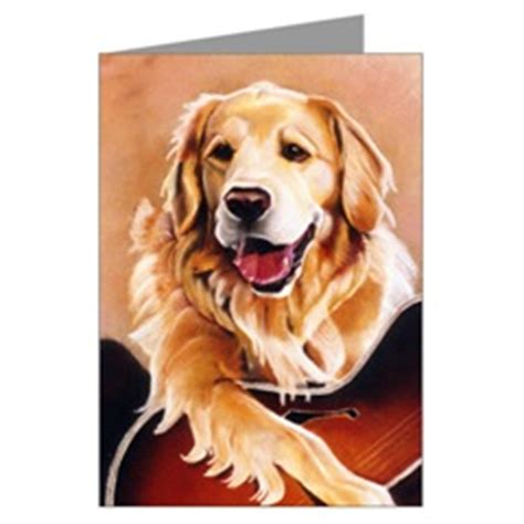 golden retriever guitar golden retriever gifts greeting cards notecards