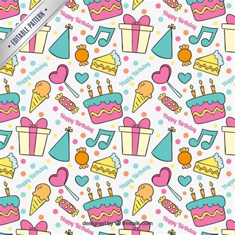 birthday pattern pink vector hand drawn colorful birthday pattern vector premium download