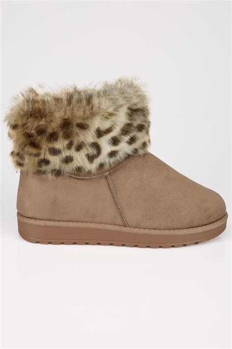 Po Address Finder Faux Fur Trim Ankle Boots In True Eee Fit