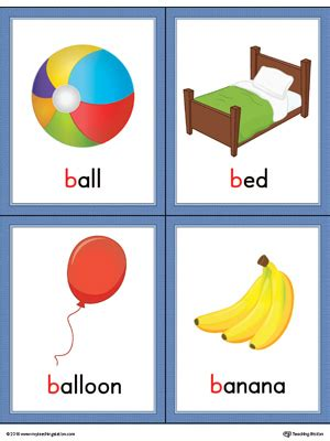 words that start with bed letter b words and pictures printable cards ball bed