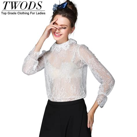 See Through Lace Blouse aliexpress buy twods s 5xl see through white lace blouse sleeve mock neck
