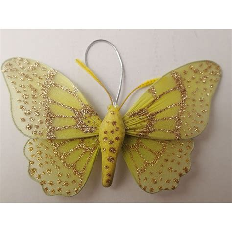 Yellow Butterfly Decorations by Yellow Organza Wire Glitter Butterfly Wedding