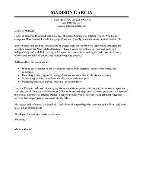 cover letter for receptionist position best receptionist cover letter exles livecareer