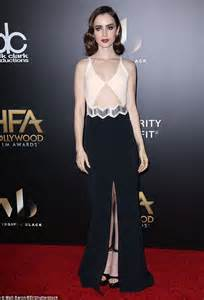 classic hollywood glamour hollywood events season style set girl lily collins shows off svelte figure in a dress split to