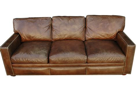 worn leather sofa furniture vintage brown distressed leather sofa for home
