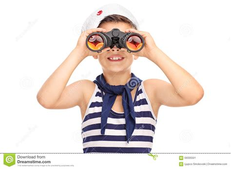Sailor Boy sailor boy looking through binoculars isolated on