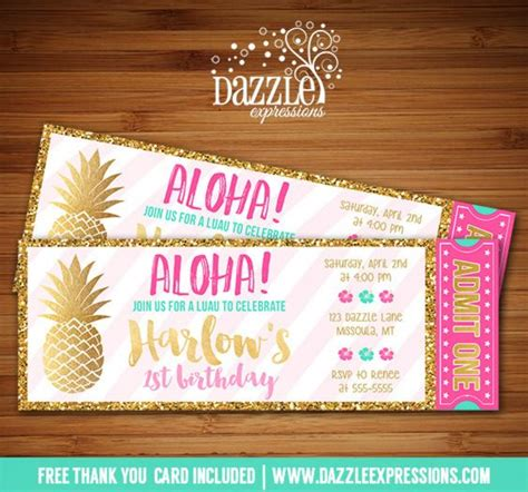 hawaiian card template printable gold pineapple and luau birthday invitation