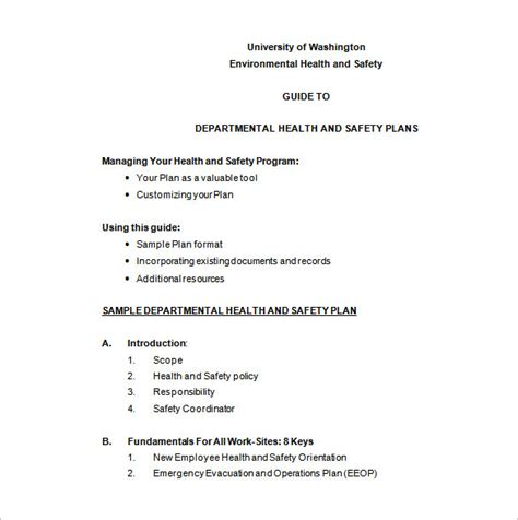 environmental health and safety plan template health and safety plan templates 8 free word pdf
