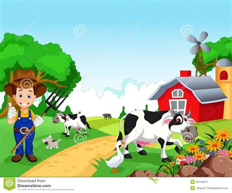 Plantation House Plans by Farm Background With Farmer And Animals Stock Illustration