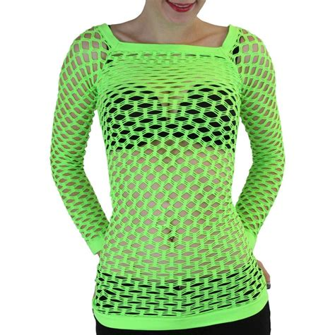 Blouse Gogo details about a sleeve fishnet shirt tops blouse gogo wear color