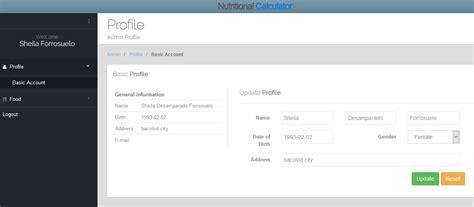 calculator php nutritional calculator php mysql source code