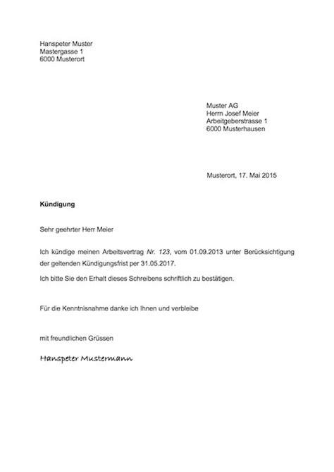 Brief Formatierung Schweiz K 252 Ndigung Vorlage Arbeitsvertrag Schweiz Muster Vorlage Ch