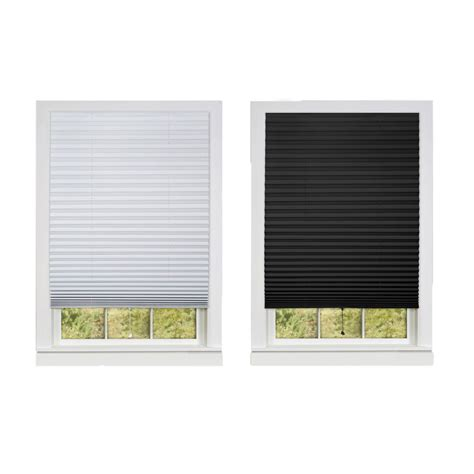 Pleated Shades For Windows Decor Pleated Window Shades Room Darkening Vinyl Blinds 75 Quot L White Black Ebay