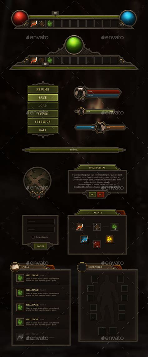 design game gui rpg mmo user interface user interface rpg and game assets