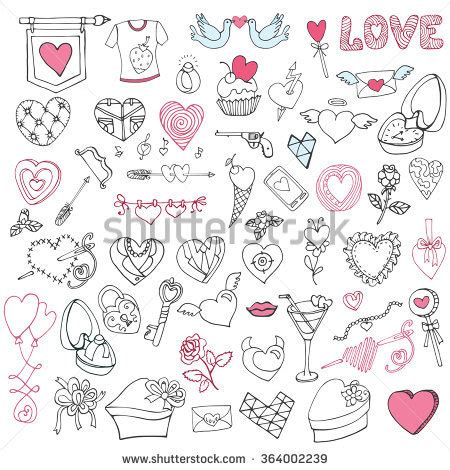 doodle sign on valentines day doodles symbols stock vector