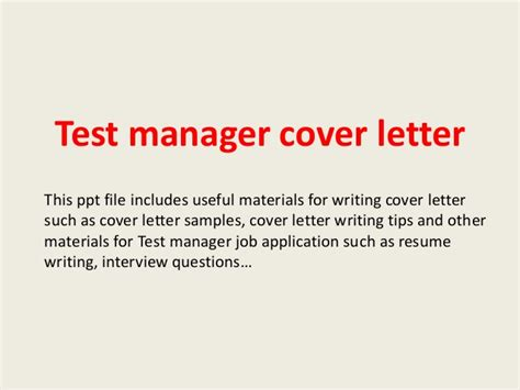Test Manager Cover Letter by Test Manager Cover Letter