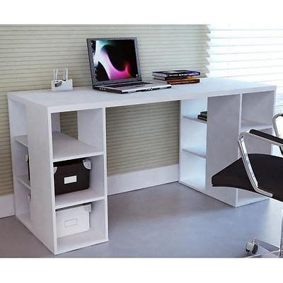 modern sleek bloc desk w storage shelves white home
