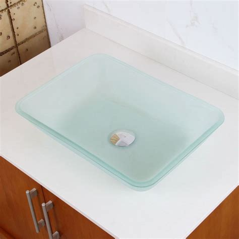 rectangular clear glass vessel sinks rectangle frosted tempered glass bathroom vessel