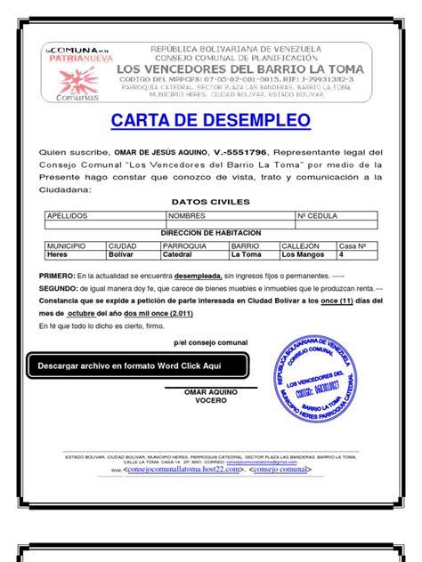 carta de de empleo formato modelo ejemplo carta de desempleo