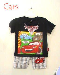 43474 Stelan Anak Car stelan busana kartun anak motif cars putri busana