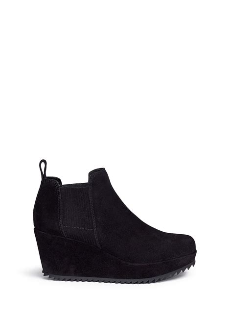 pedro garcia fawn suede wedge boots in black lyst