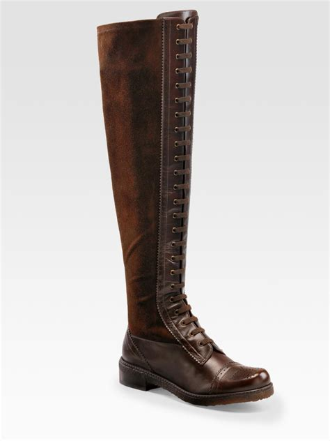 stuart weitzman lace up boots in brown lyst