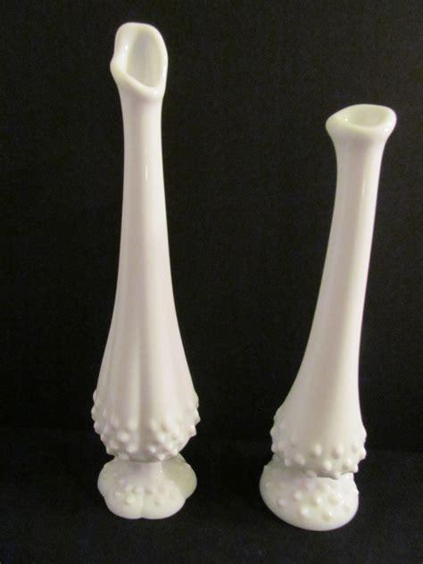 fenton white hobnail milk glass bud vases pair vintage 1950s