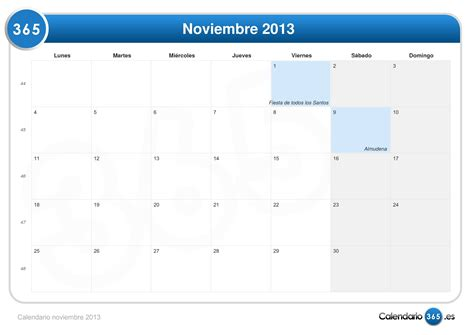 Calendario Noviembre Calendario Noviembre 2013