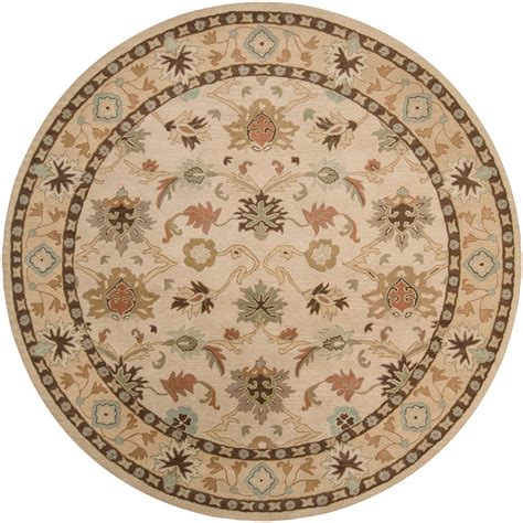round accent rugs floors rugs hand tufted vanilla floral border wool