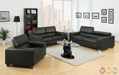 black leather living room makri contemporary black living room set with bonded