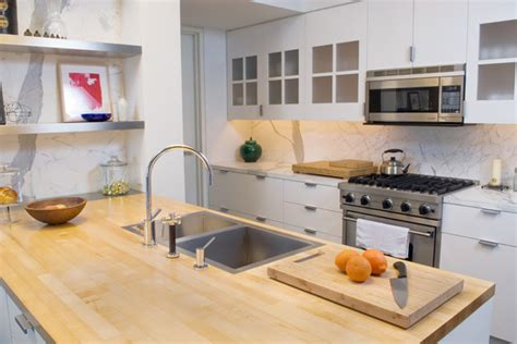butcher block bathroom sink flush mount sink on butcher block contemporary kitchen sinks new york by mila