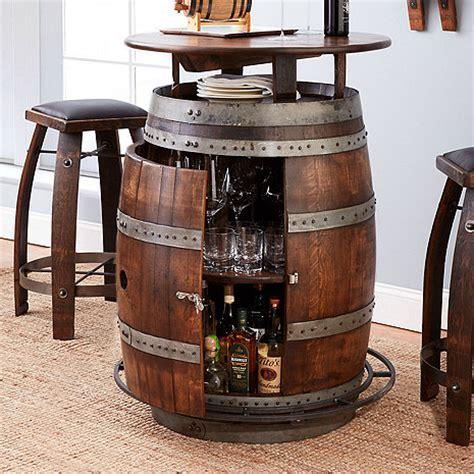 Vintage oak wine barrel bistro table amp bar stools whiskey finish wine enthusiast