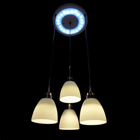 White Shade Pendant Light 4 Light Led Hanging Pendant L In White Shade L Brilliant Source Lighting