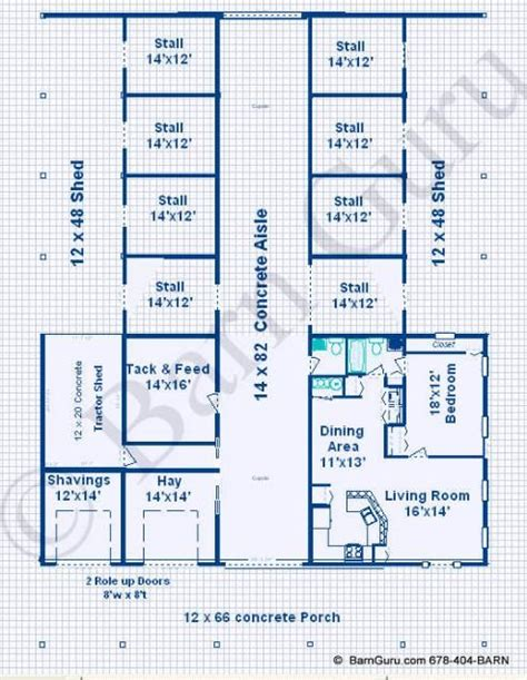 Barn Plans With Living Area by 8 Stall Barn With Living Quarters Design Plan Ga