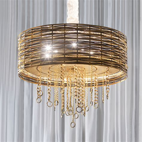 modern woven leather gold metal ceiling light