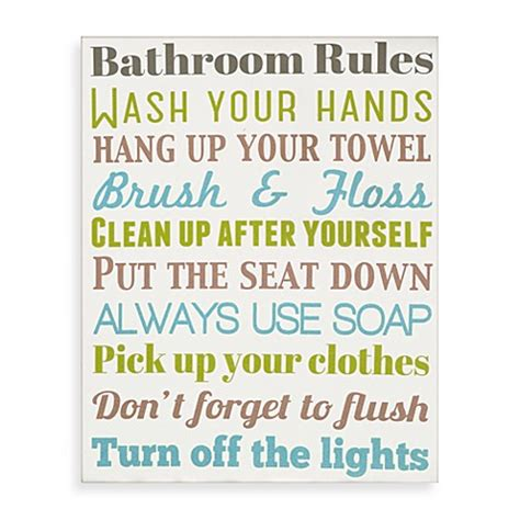 bathroom rules art bathroom rules wall art bed bath beyond