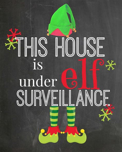 printable elf surveillance sign elf surveillance printable decor printables 4 mom