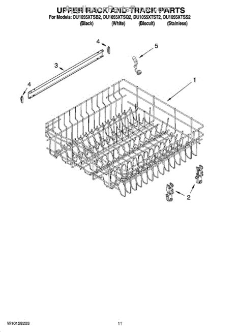 parts for whirlpool du1055xtss2 rack and track