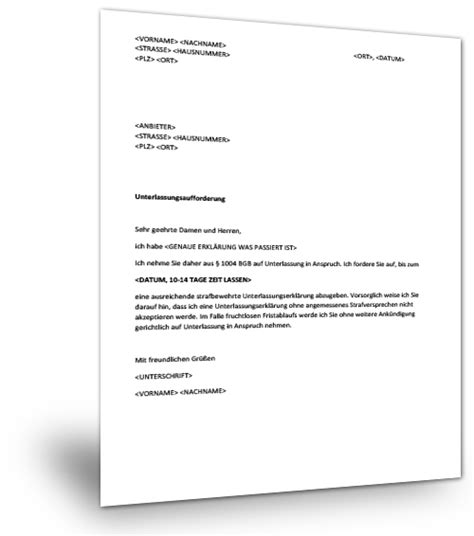 Musterbrief Angebot Immobilie Musterbrief Unterlassungserkl 228 Rung Musterix