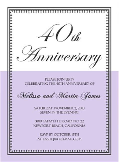 40th Anniversary Invitation Wording Work Anniversary Announcement Template