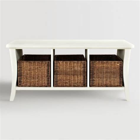 world market entryway bench white wood cassia entryway storage bench with baskets